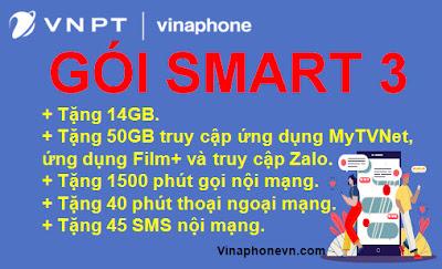 Nhận 64GB Data, Miễn phí 1.500 phút Nội mạng, 40 phút Ngoại mạng gói Smart 3 ( SM3) Vinaphone