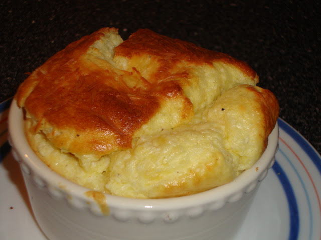 Closeup Of Parmesan and Gruyere Cheese Soufflé