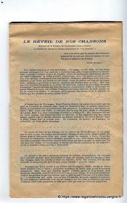 La Bourrée du Massif Central, programme 1938 les chansonniers d'auvergne