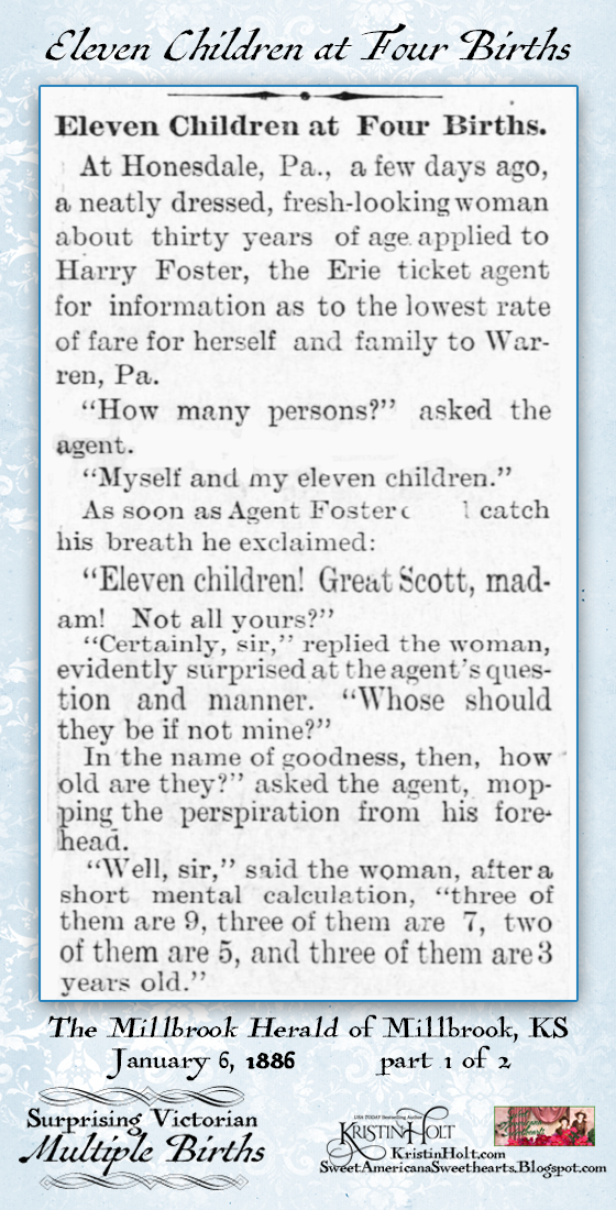 Kristin Holt | Surprising Victorian Multiple Births. Eleven Children born in four births. Part 1 of 2. From The Millbrook Herald of Millbrook, Kansas, January 6, 1886.
