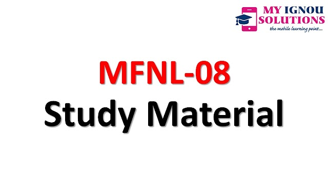 IGNOU MFNL-08 Study Material