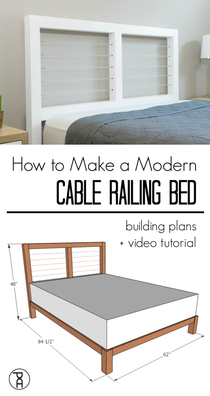 How to build a modern queen sized bed from cheap wood and install DIY cable stair railing
