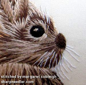 Detail of thread painted rabbit (head) from Tanja Berlin's 'Wild Rabbit'
