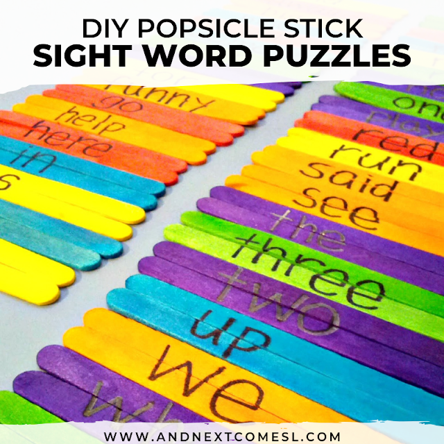 Practice sight words with these DIY popsicle stick sight words game