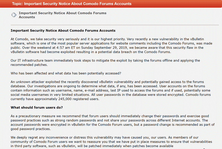 Comodo vbulletin forums hacked