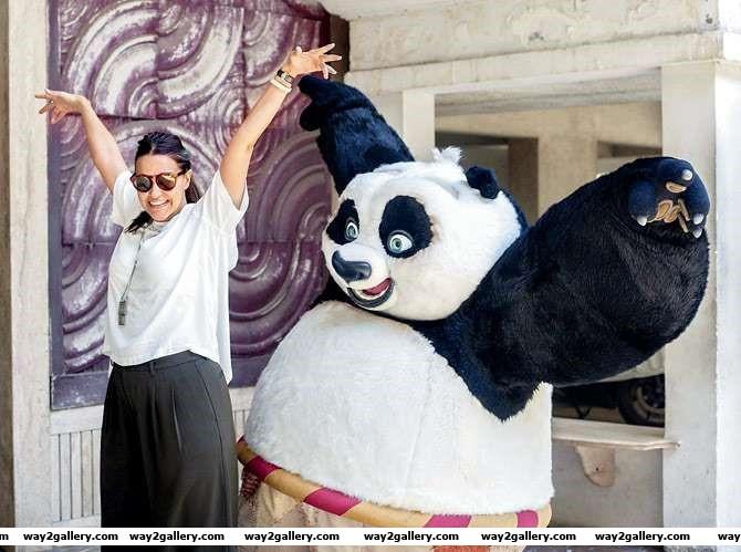 Kung Fu Pandas Po met Neha Dhupia as part of a promotional activity for Kung Fu Panda