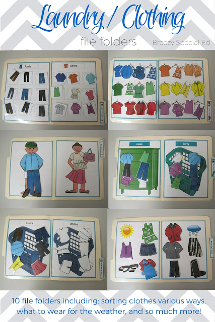 Laundry Life Skill File Folders Activities for Special Education