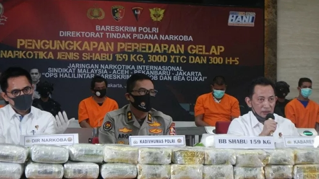Bareskrim Sita Narkoba Jenis Sabu Seberat 159 Kg dari China