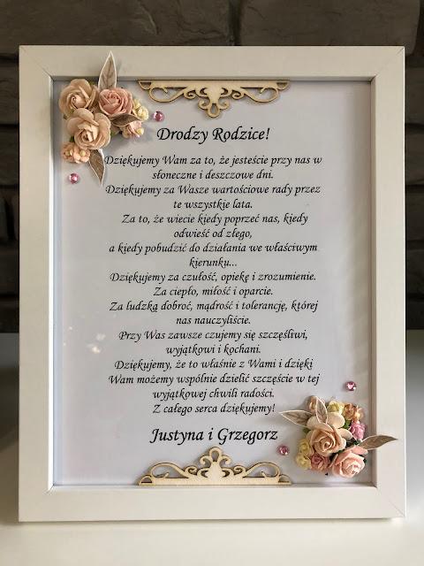 Podziękowanie Ślubne w Ramce dla Rodziców Pary Młodej