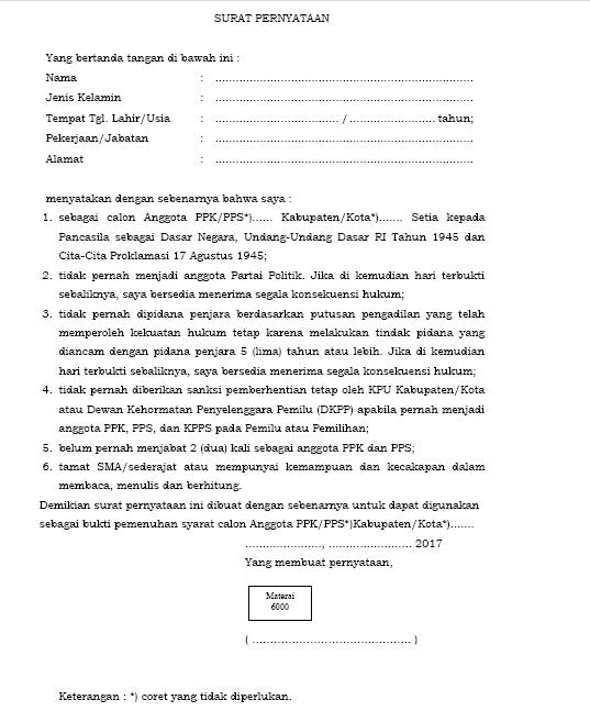 Formulir Pendaftaran Calon Anggota Ppk Pps Dan Kpps Dalam Pemilihan
