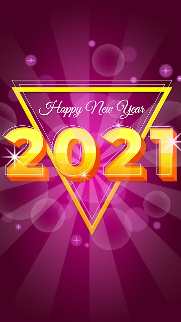 2021 Happy New Year pink background
