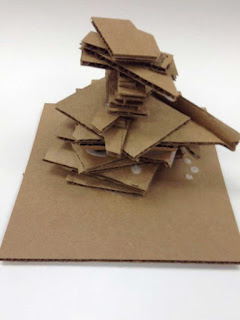 cardboard sculpture created by student with autism in art class