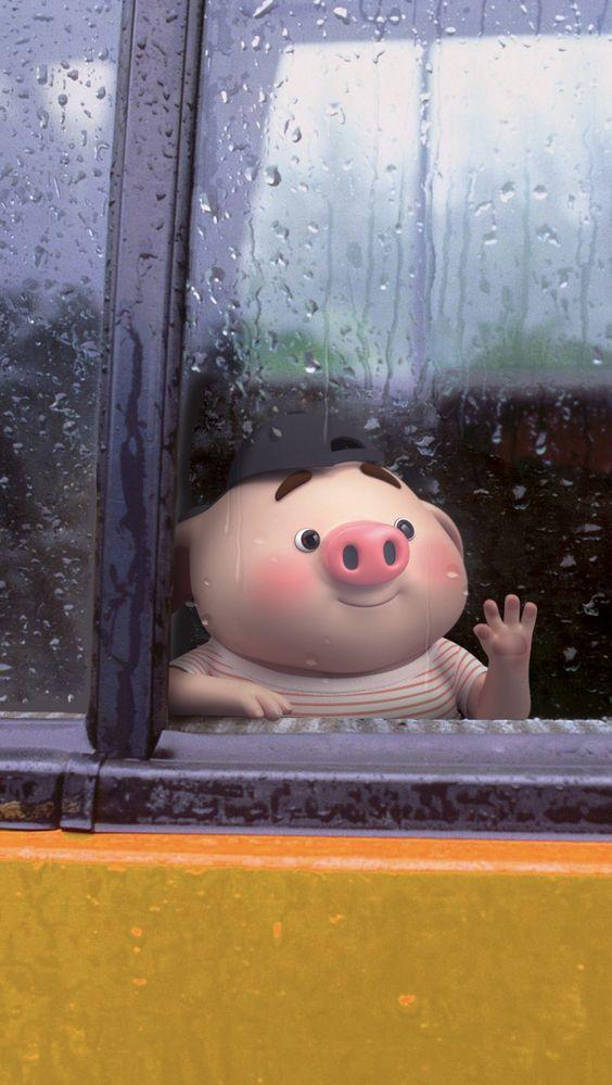 Hình Nền Điện Thoại Heo Con tâm trạng những ngày mưa