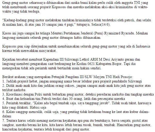 Nyari Gara Gara Dengan Koppasus Seluruh Geng Motor Di Indonesia Bakal Di Habisi Semua Tanpa Sisa ! - Commando