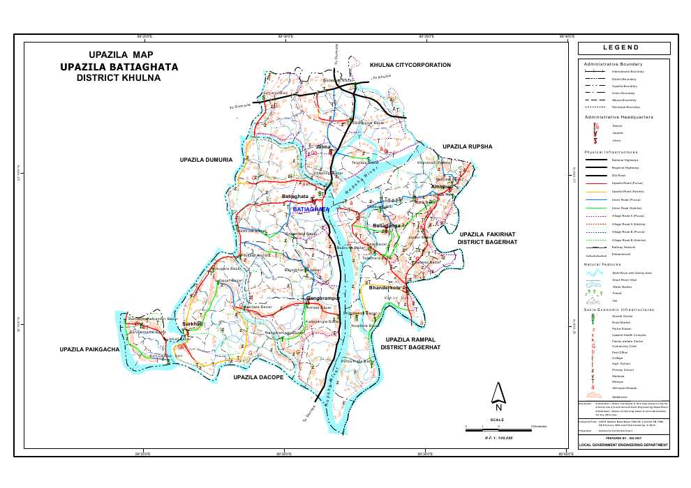 Batiaghata Upazila Map Khulna District Bangladesh