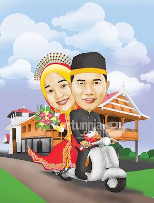 kartun pengantin naik vespa