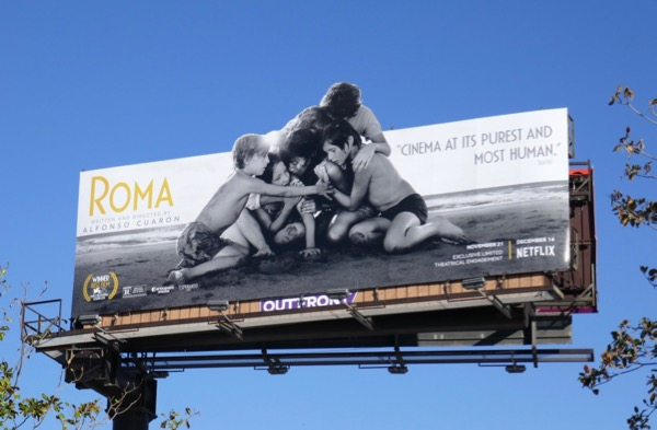 Roma movie cut-out billboard