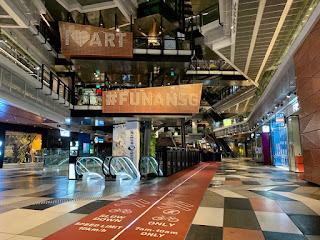 Cycling path at Funan mall