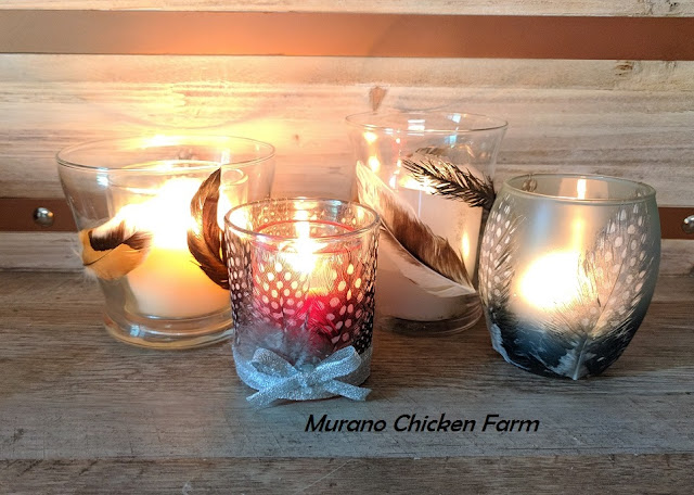 Chicken feather candle holders