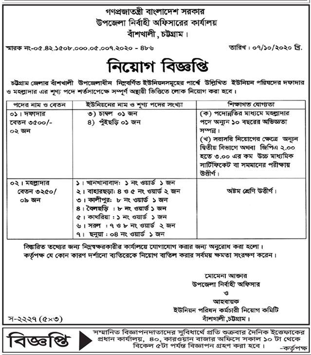 উপজেলা পরিষদ ও নির্বাহী অফিসারের কার্যালয়ে নিয়োগ বিজ্ঞপ্তি -  Upazila Parishad office Job Circular