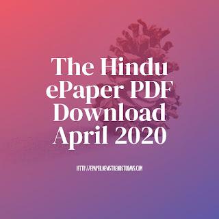 The Hindu ePaper PDF Download April 2020