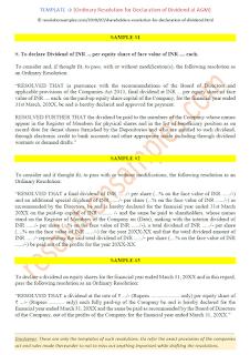 shareholders resolution for declaration of dividend