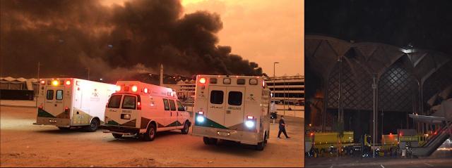 صور حريق محطة قطار الحرمين بجده