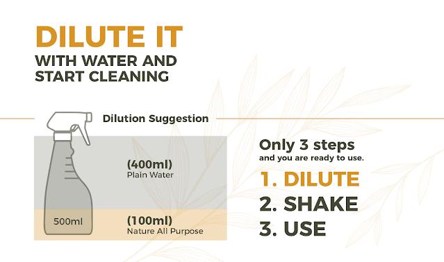Cecair pembersih all-in-one cleansing concentrate HōMUplus+ Nature All-Purpose Set dari 98 percent
