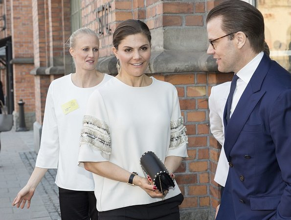 Crown Princess Victoria wore By Malene Birger blouse top. Gianvito Rossi Levy ankle boots, she carried Valentino Garavani clutch
