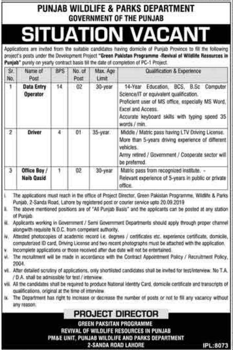 Advertisement for Wildlife Department Punjab Jobs
