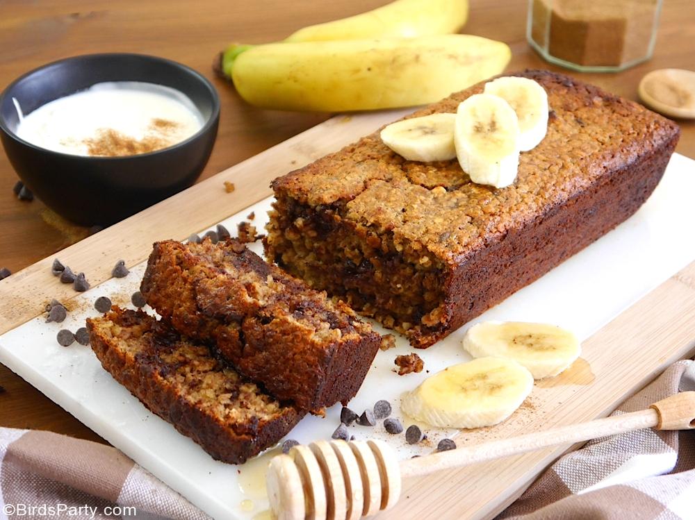 Recette Banane Bread Sans Gluten - recette délicieuse, rapide et facile à préparer pour le petit-déjeuner, goûter des enfants ou dessert!