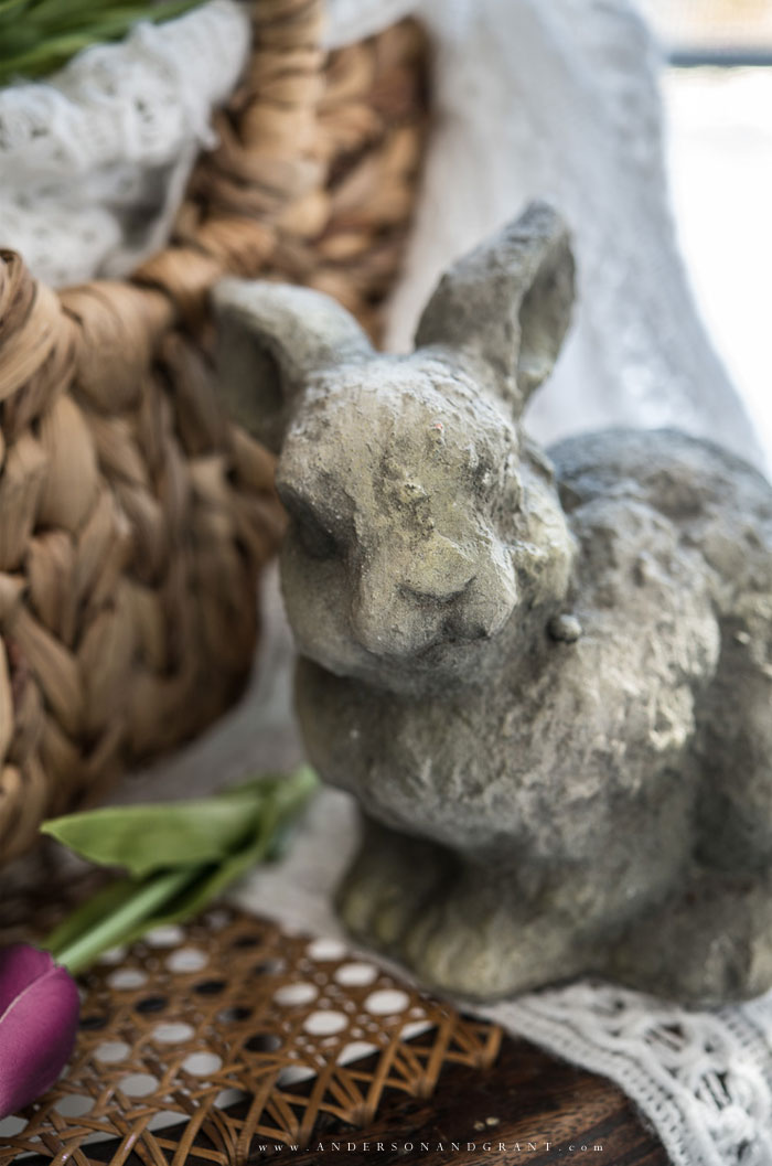 Gray cement bunny figurine