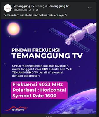 Update Frekuensi Temanggung TV pindah Mei 2021