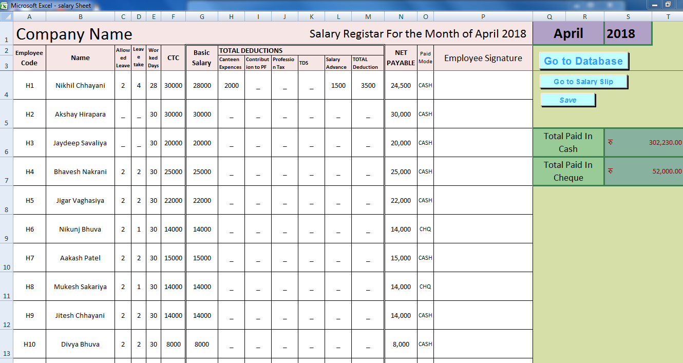 Nikhil Chhayani Salary Sheet In Excel Template