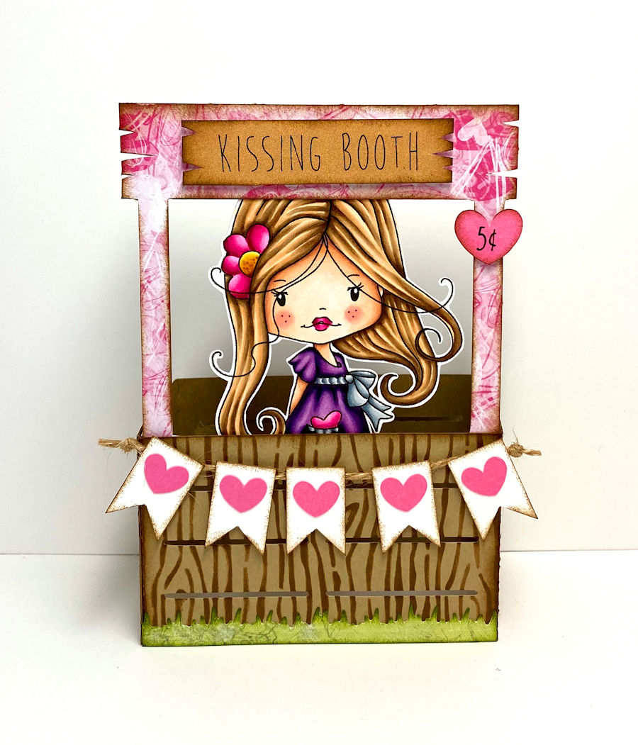 polkadoodles how to make a cute kissing booth card