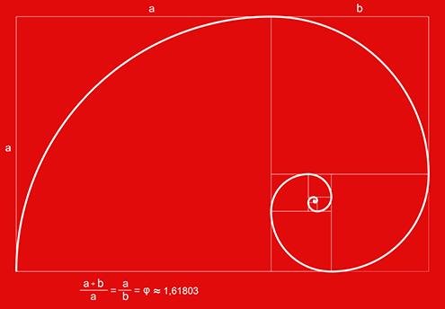 ilustracion de la espiral de fibonacci (fibonnaci sequence), sucesión de fibonacci, secuencia de fibonacci, o también llamada espiral dorada, en la que se incluye la formula matemática con el numero de oro; todo ello con fondo de color rojo