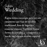 É uma ótima estratégia para ter um casamento que fuja do modelo tradicional, fora de lugares  e cenários comuns. Também é uma forma de conciliar o casamento e a lua-de-mel em um destino especial.