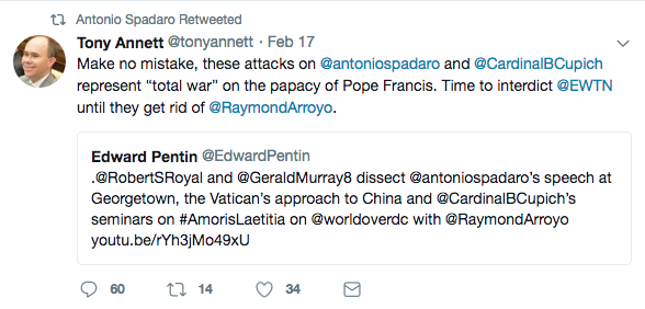 Call Me Jorge   : Antonio Spadaro isn't happy with EWTN's Raymond Arroyo