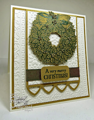 Stamps - Our Daily Bread Designs Holly Wreath, Jingle Bells, ODBD Custom Cathedral Window and Border Die
