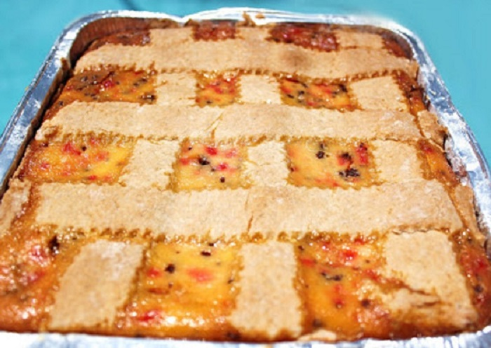 this is an Italian Ricotta Cassata which is a cheesecake made at Easter time in an Italian household