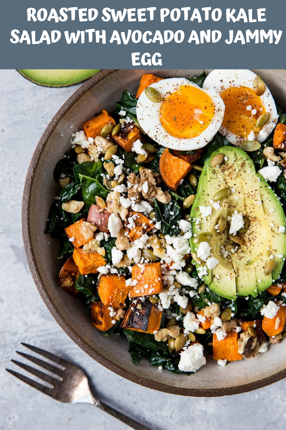 ROASTED SWEET POTATO KALE SALAD WITH AVOCADO