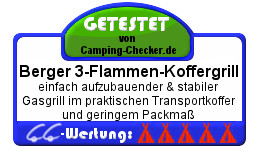 Camping-Checker Testsiegel Berger 3-Flammen-Koffergrill