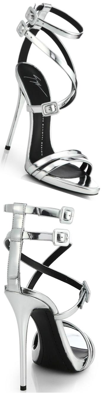 Giuseppe Zanotti Metallic Leather Skinny-Strap Silver Sandal