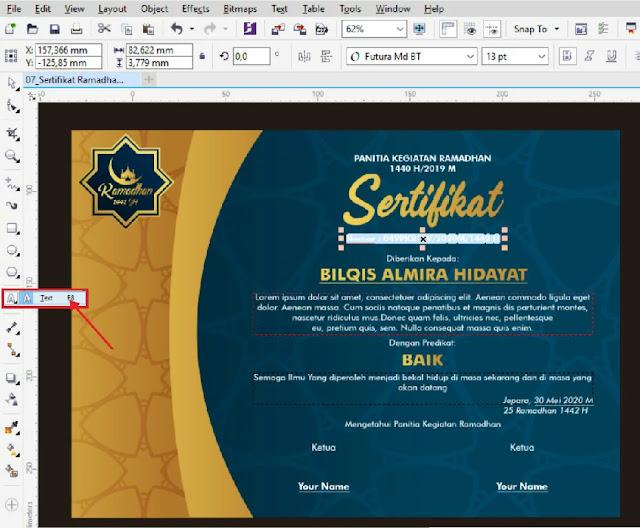 Contoh Sertifikat Pesantren Ramadhan CorelDraw