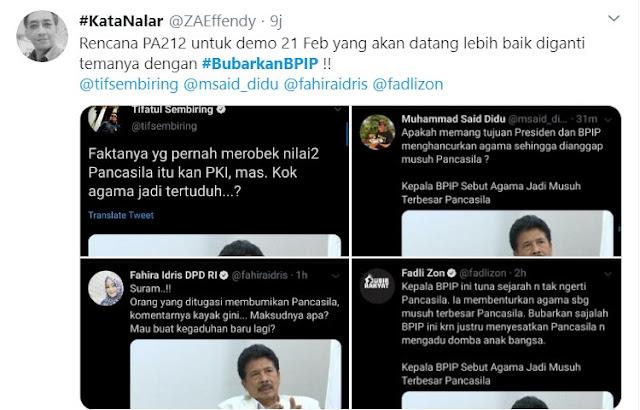 #BubarkanBPIP Trending Topik! Aksi 21 Februari Disarankan Tuntut Bubarkan BPIP