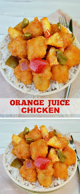 Crispy Chicken cubes in a thick sweet and sour sauce will have your family raving for more of this Orange Juice Chicken !