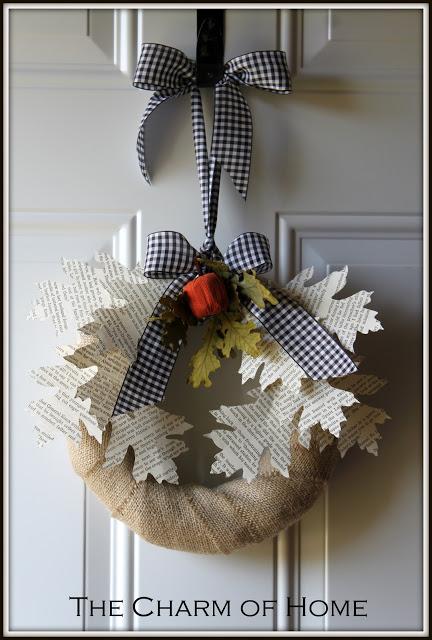 Autumn Book Page Wreath