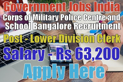 Corps of Military Police Centre and School Bangalore Recruitment 2017