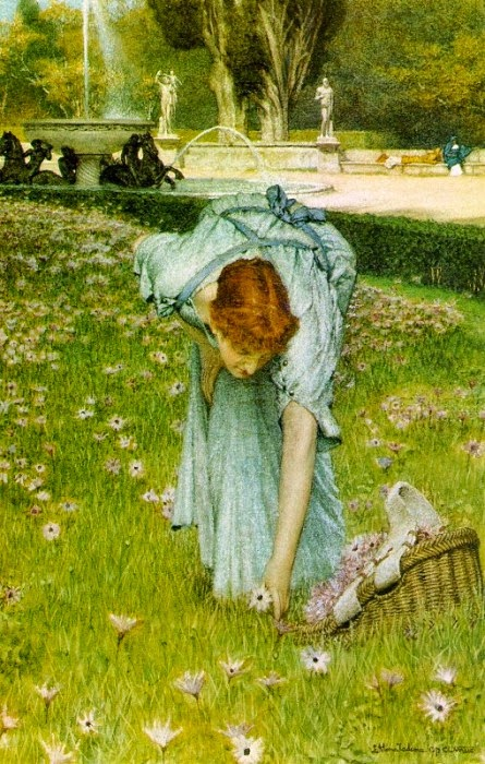 Flora, Primavera no Jardim da Villa Borghese - As mais belas pinturas de Lawrence Alma-Tadema - (Neoclassicismo)
