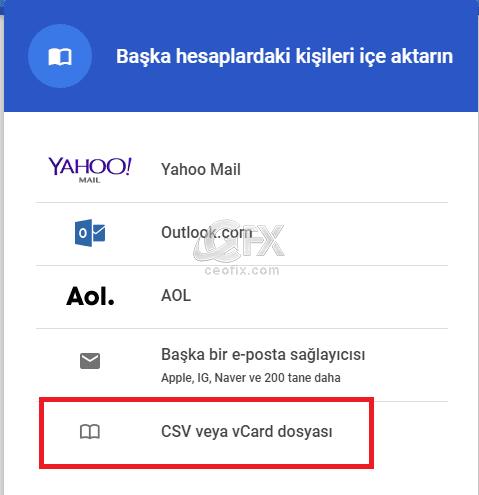 CSV veya Vcard dosyası